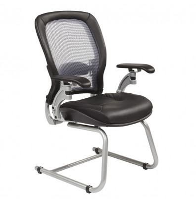Office Star Space Seating Professional Light AirGrid Mesh-Back Leather Visitors Chair