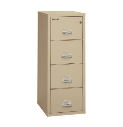 """FireKing 4-Drawer 25"""" Deep 1-Hour Rated Fireproof File Cabinet, Letter (Shown in Parchment)"""