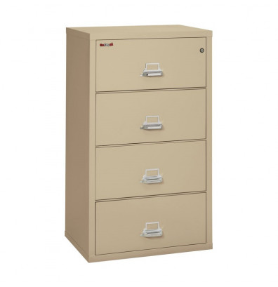 """FireKing 4-Drawer 31"""" Wide 1-Hour Rated Lateral Fireproof File Cabinet - Shown in Parchment"""