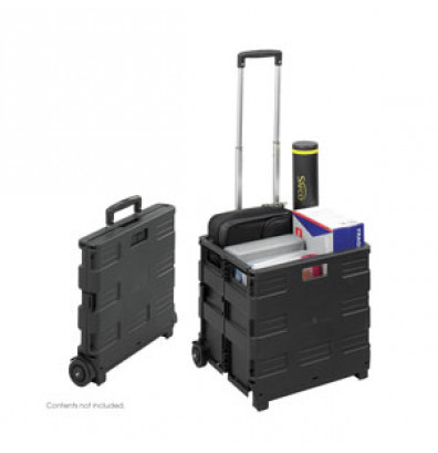 Safco Stow-Away Crate 50 lb Load Aluminum & Plastic Folding Hand Truck, Black