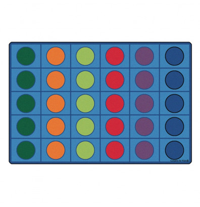 Carpets for Kids Seating Circles Rectangle Classroom Rug (Shown with 30 Spaces)