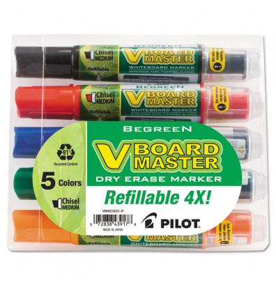 Pilot BeGreen Dry Erase Marker, Chisel Tip, Assorted, 5-Pack