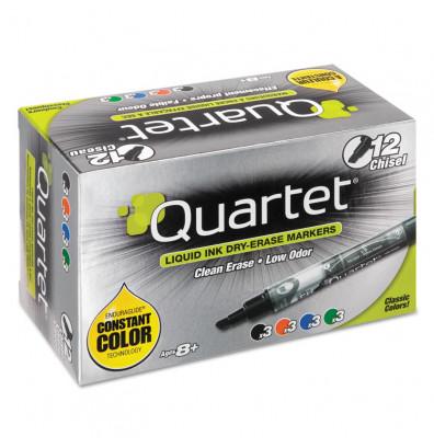 Quartet EnduraGlide Dry Erase Marker, Chisel Tip, Assorted, 12-Pack