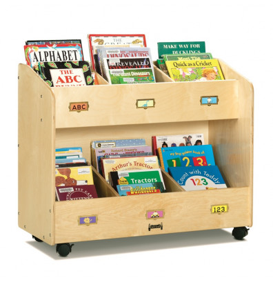 Jonti-Craft 6-Section Mobile Book Display Stand Organizer (example of use)