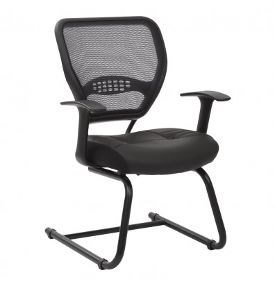 Office Star Space Seating Professional AirGrid Mesh-Back Eco-Leather Mid-Back Guest Chair