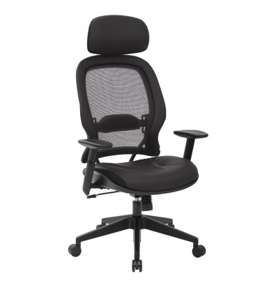 Office Star Professional AirGrid Mesh-Back Eco-Leather High-Back Executive Office Chair (Model 57906E)