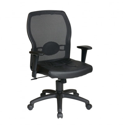 Office Star Woven Mesh-Back Leather Mid-Back Task Chair