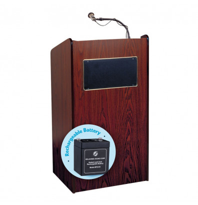 Oklahoma Sound Aristocrat Wireless Sound System Lectern, Battery (Shown in Mahogany)