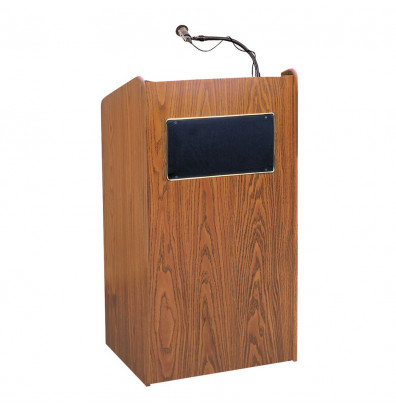 Oklahoma Sound Aristocrat Wireless Sound System Lectern (Shown in Medium Oak)