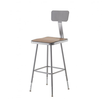 "NPS 25"" - 33"" Height Adjustable Square Science Lab Stool, Backrest"