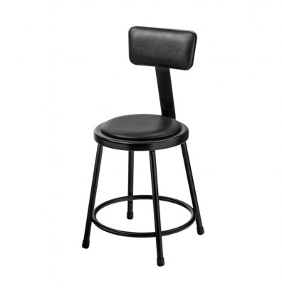 "NPS 18"" H Vinyl Padded Round Science Lab Stool, Backrest, Black"