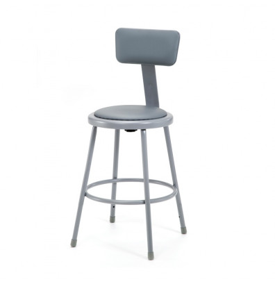 """NPS 24"""" H Padded Round Science Lab Stool, Backrest"""