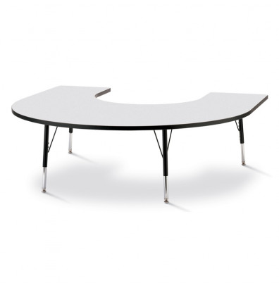 "Jonti-Craft Berries 66"" W x 60"" D Elementary Horseshoe-Shaped Classroom Activity Table (Shown in Grey/Black)"