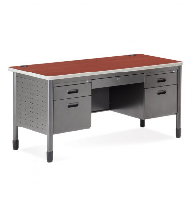 "OFM 66360 60"" W Double Pedestal Metal Teacher's Desk (Shown in Cherry)"