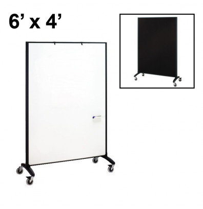 Quartet Motion Porcelain/Fabric 6 x 4 Reversible Mobile Divider (Both Sides Shown)