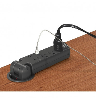 Balt Pop-Up Grommet 4 Outlet and 2 USB Charging Ports