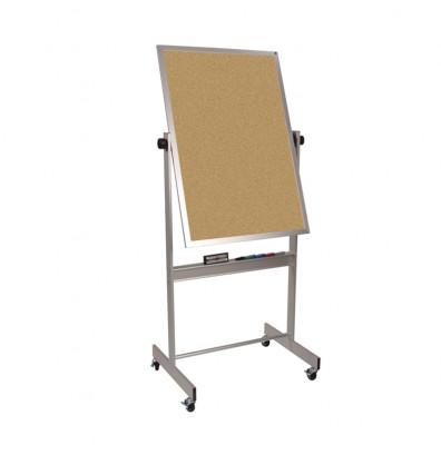 Best-Rite 668AC-CC Natural Cork 2.5 x 3.5 Aluminum Trim Reversible Mobile Bulletin Board