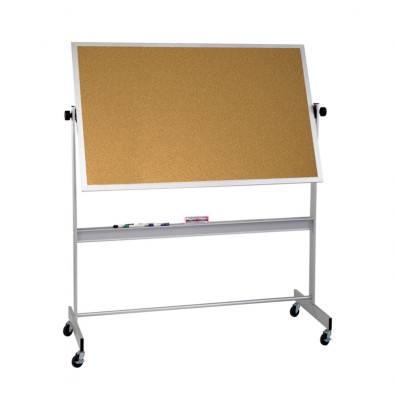 Best-Rite 668AH-CC Natural Cork 8 x 4 Aluminum Trim Reversible Mobile Bulletin Board