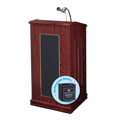 Oklahoma Sound Prestige Wireless Sound System Lectern, Battery (Shown in Mahogany)