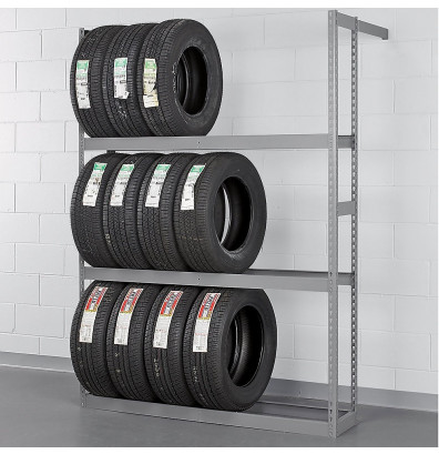 "Tennsco 60"" W x 84"" H Automotive Tire Rack Shelving Unit (Shown in Medium Grey)"