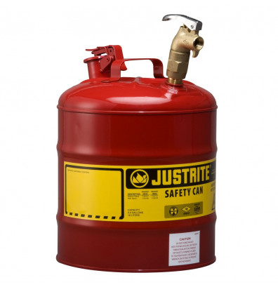 Justrite 7150157 Type I Brass Faucet 5 Gallon Dispensing Safety Can, Red