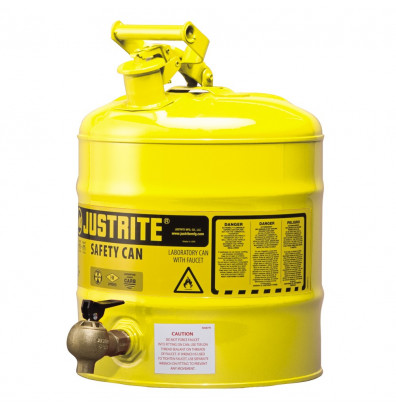 Justrite 7150240 Type I 5 Gallon Shelf Dispensing Safety Can, Yellow