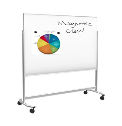 Best-Rite 74951 Visionary Move 6 ft. x 4 ft. Magnetic Mobile Glass Whiteboard