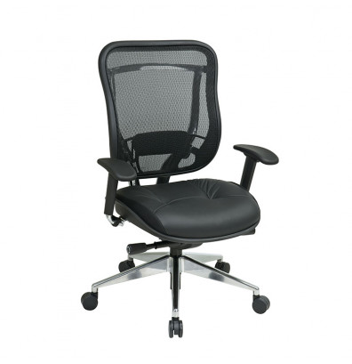 Office Star Big & Tall 300 lb. Mesh-Back Leather Mid-Back Executive Chair
