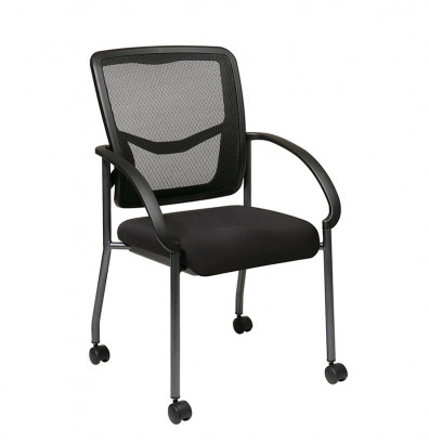 Office Star Progrid Mesh Back Fabric Mid Guest Chair Casters
