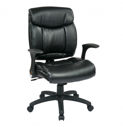 Office Star Flip Arm Faux Leather Mid-Back Managers Chair (Model FL89675-U6)