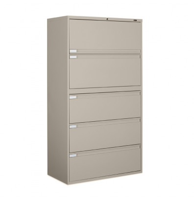 "Global 9342P-5F1H 5-Drawer 42"" Wide Lateral File Cabinet, Letter & Legal (Shown in Desert Putty)"