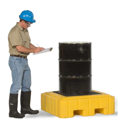"""Ultratech 9606 P1 Plus 40"""" W x 40"""" L Spill Pallet without Drain, 62 Gallons (example application)"""