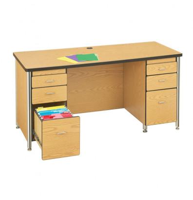 """Jonti-Craft Berries 72"""" W Double Pedestal Teachers Desk - Shown in Oak"""