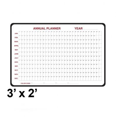 Ghent 984517 3 ft. x 2 ft. Annual Black Vinyl Frame Dry Erase Planning Whiteboard