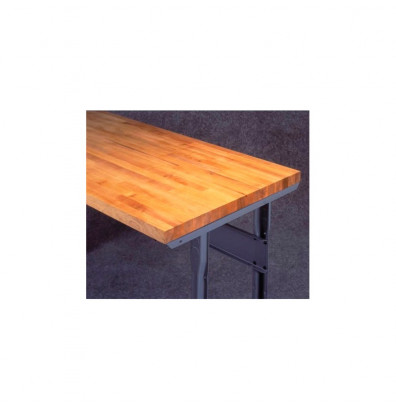 "Tennsco MT-3672 Hardwood Workbench Top with Stringer (72"" W x 36"" D) - Shown Mounted with Medium Grey Stringer"