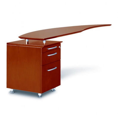 "Mayline Napoli NRTPL 63"" W Curved Desk Return with Pedestal, Left (Shown in Sierra Cherry)"