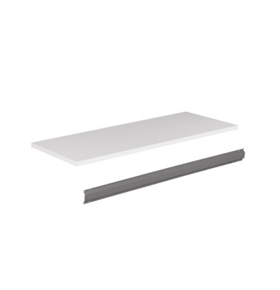"Tennsco PT-3672 Plastic Laminate Workbench Top with Stringer (72"" W x 36"" D) - Shown Mounted with Medium Grey Stringer"
