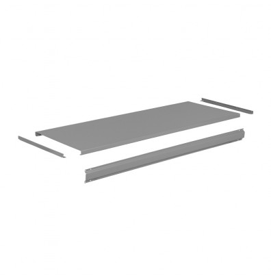 "Tennsco T-3696 Steel Workbench Top with Stringer (96"" W x 36"" D) - Shown in Medium Grey"