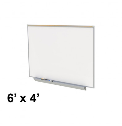 Ghent A2M46-M Premium Aluminum Frame 6 ft. x 4 ft. Porcelain Magnetic with Box Tray, Map Rail