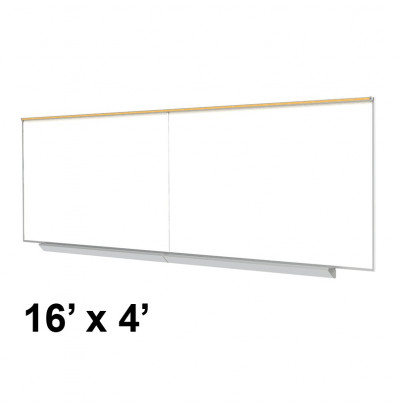 Ghent A2M416-M Premium Centurion 16 ft. x 4 ft. Porcelain Magnetic Whiteboard with Map Rail
