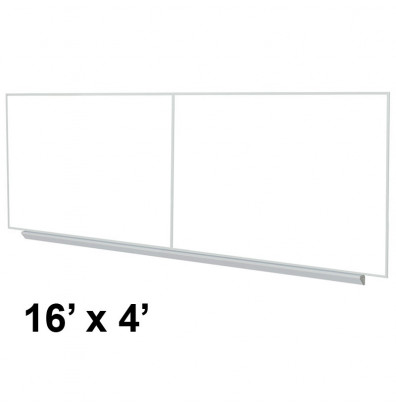 Ghent A2M416 Premium Aluminum Frame 16 ft. x 4 ft. Porcelain Magnetic with Box Tray