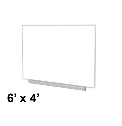 Ghent A2M46 Aluminum Frame 6 ft. x 4 ft. Porcelain Magnetic with Box Tray