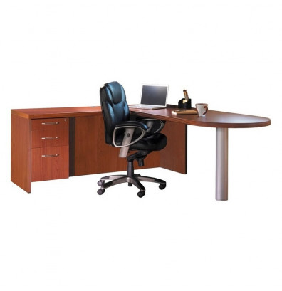 Mayline Aberdeen At11 L Shaped Peninsula Executive Office Desk With Pedestal Shown In Cherry