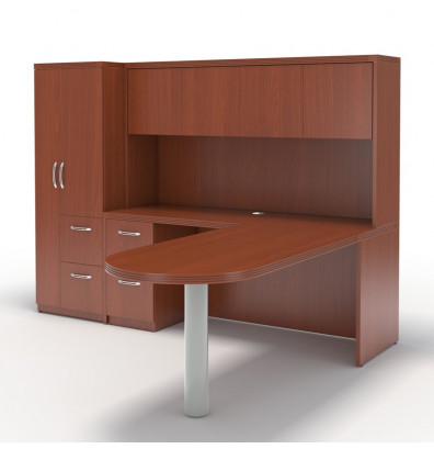 Mayline Aberdeen AT22 L Shaped Executive Office Desk Set (Shown In Cherry)