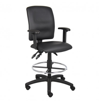 Boss B1646 Multifunction Adjustable Arms LeatherPlus Drafting Stool, Footring