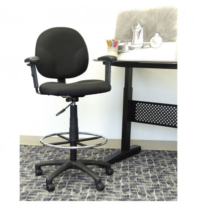 Boss B1691 Adjustable Arms Contoured Back Drafting Stool