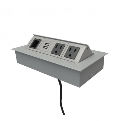 Mayline Power and Data Module with 2 Power, 2 USB Charging & 1 Open Data Outlet (Shown in Silver)