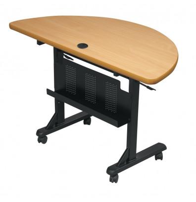 """Balt Flipper 48"""" W x 24"""" D Half-Round Nesting Training Table (Shown in Teak)"""