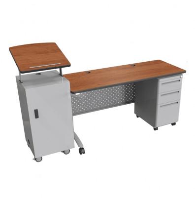 "Balt 72"" W Height Adjustable Single Pedestal Podium Teacher Desk (Amber Cherry)"