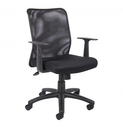 Boss B6106 Mesh-Back Fabric Mid-Back Task Chair